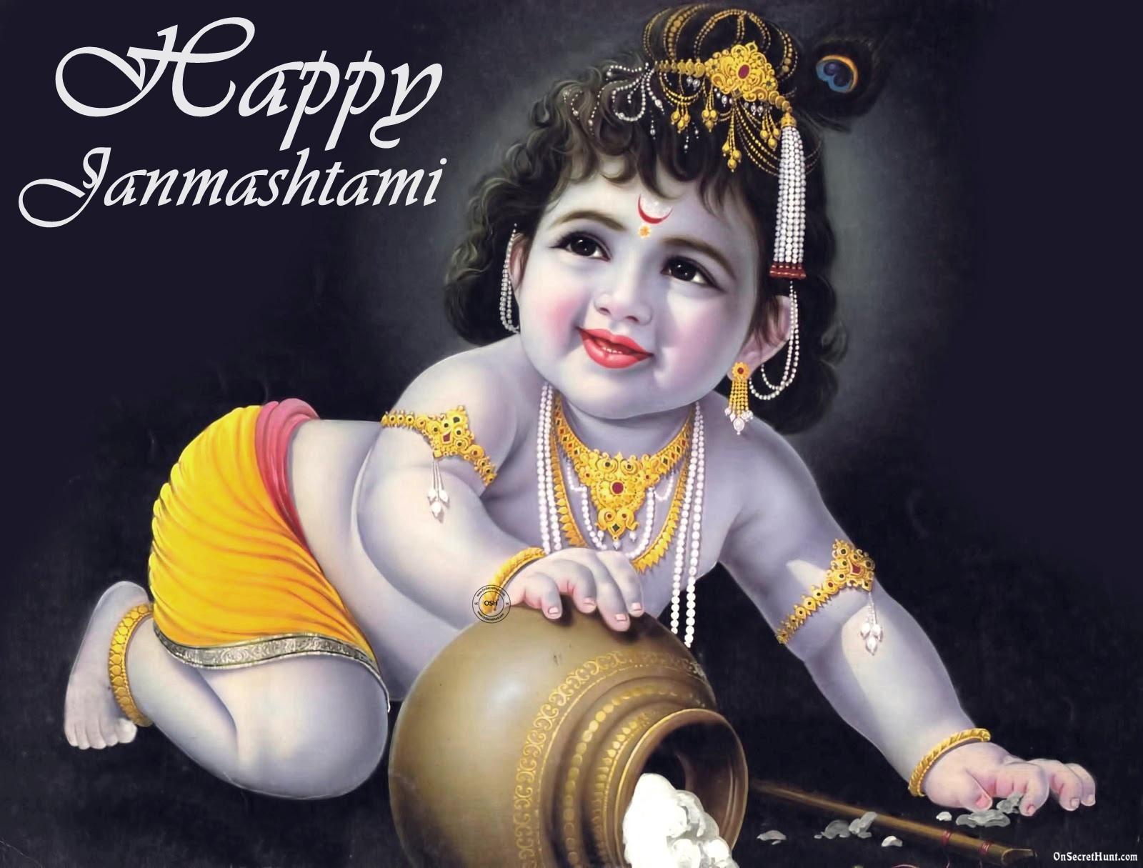 Happy Janmashtami Cute Bal Krishna Graphic Education In