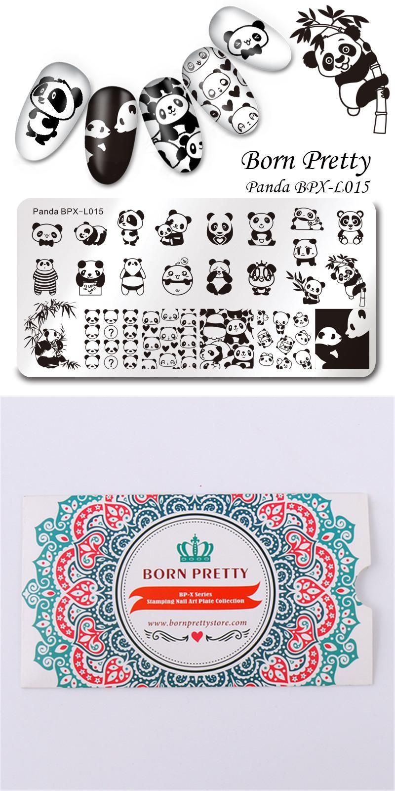 born pretty rectangle stamping plate cute panda manicure nail art