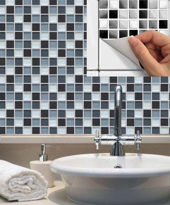 Kitchen bathroom Tile Decals Vinyl Sticker  Mosaic MS016 Grey - fliesenspiegel küche überkleben