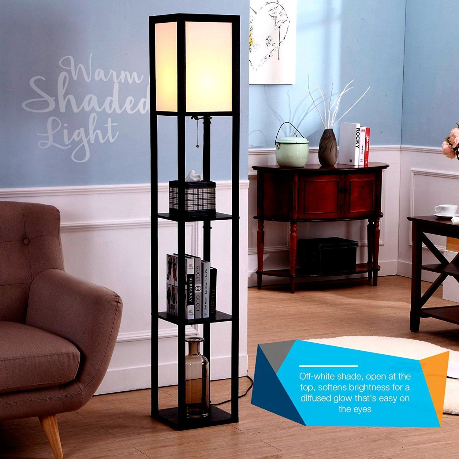 Brightech Maxwell Led Shelf Floor Lamp Modern Asian Style Standing Lamp With Soft Diffused Uplig Floor Lamp With Shelves Floor Lamps Living Room Floor Lamp