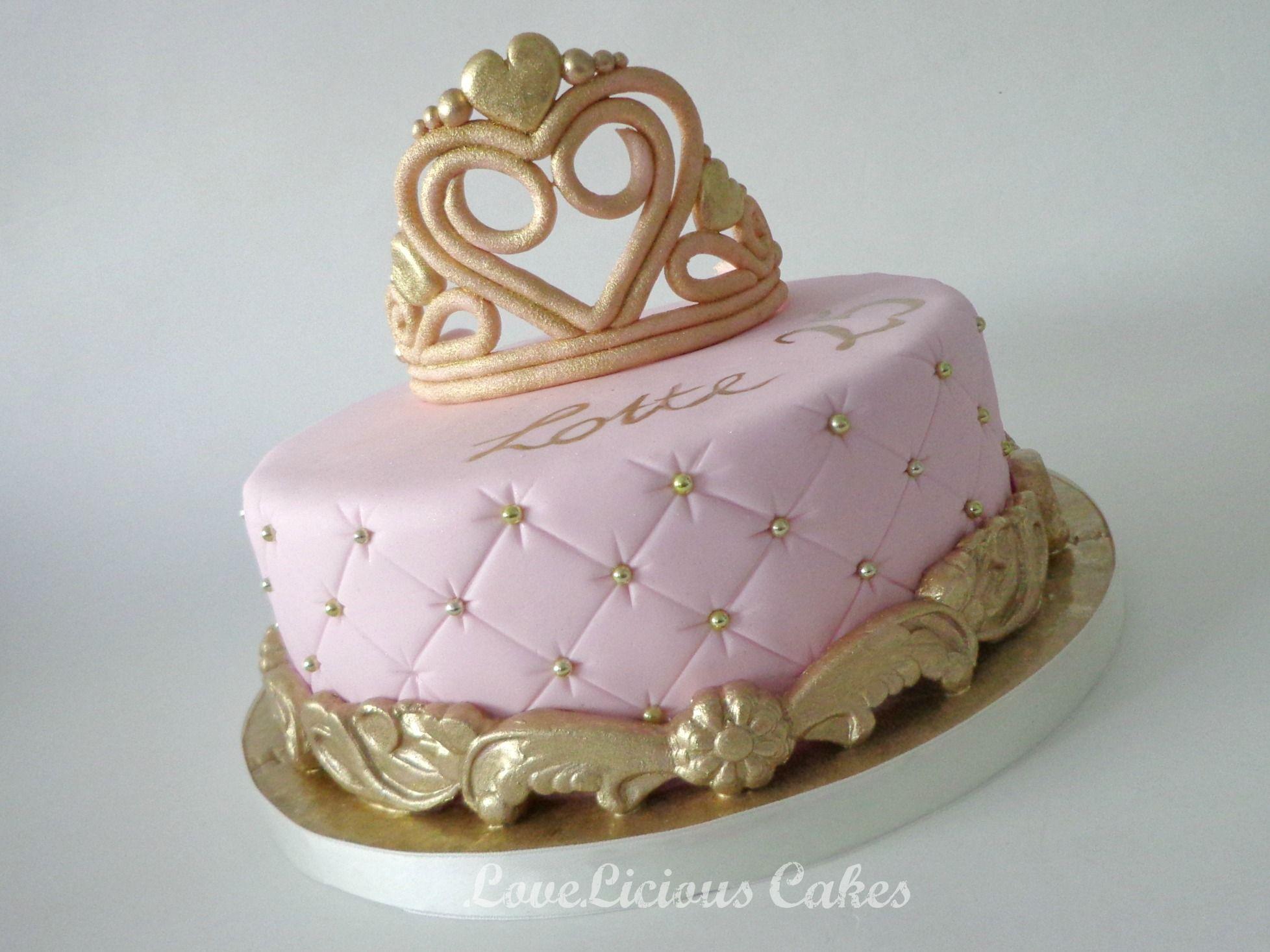 Pink Gold Tiara Quinceanera Princess Tufted Cake