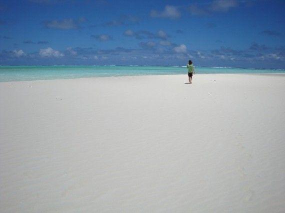 The most amazing beach we've been to: Simon on Honeymoon Island, Aitutaki, Cook Islands.