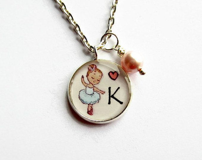 Personalised Ballerina Necklace - Initial Letter Necklace - Ballet