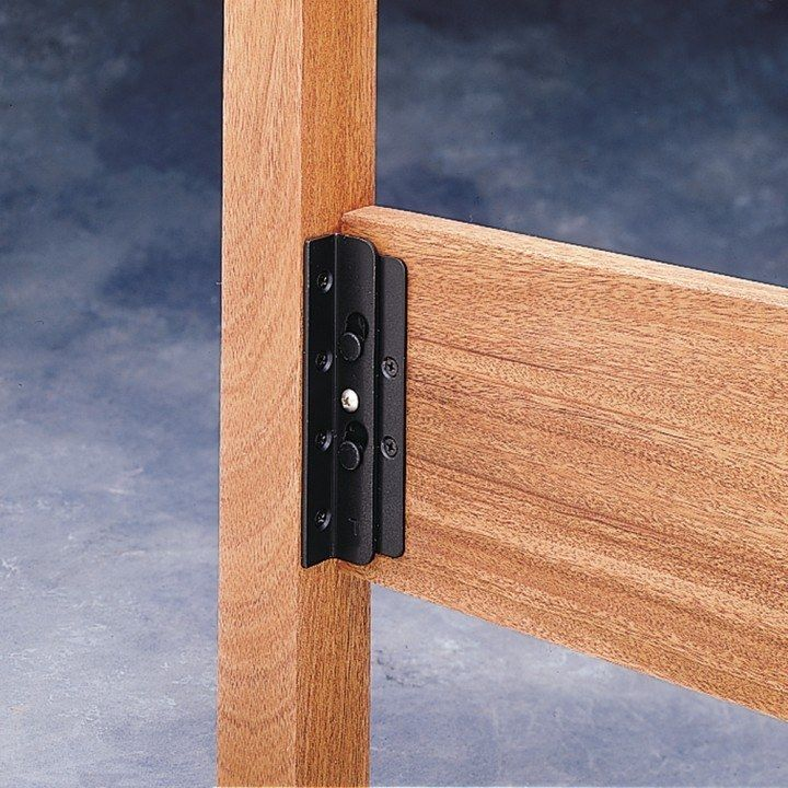 Surface Mounted Keyhole Bed Rail Brackets - 90° Bracket Set - Rockler Woodworking Tools & Surface Mounted Keyhole Bed Rail Brackets | Bed rails Bed frames ...