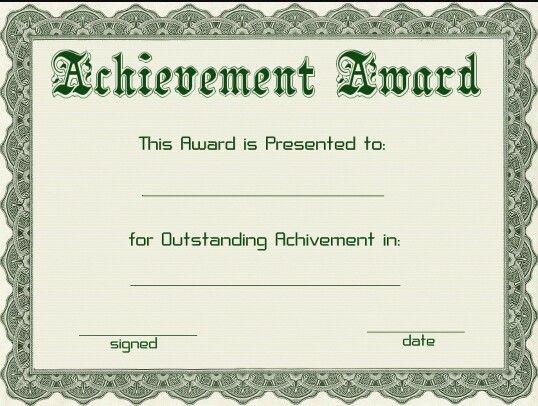 Achievement Award Awards Certificates Template Award Template