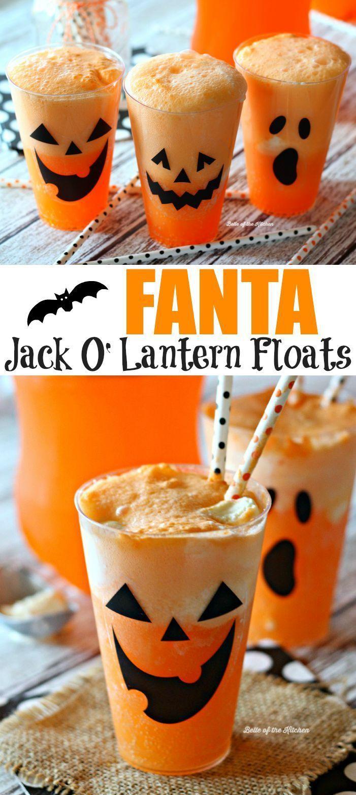 Fanta Jack O'Lantern Floats Recipe Halloween food for