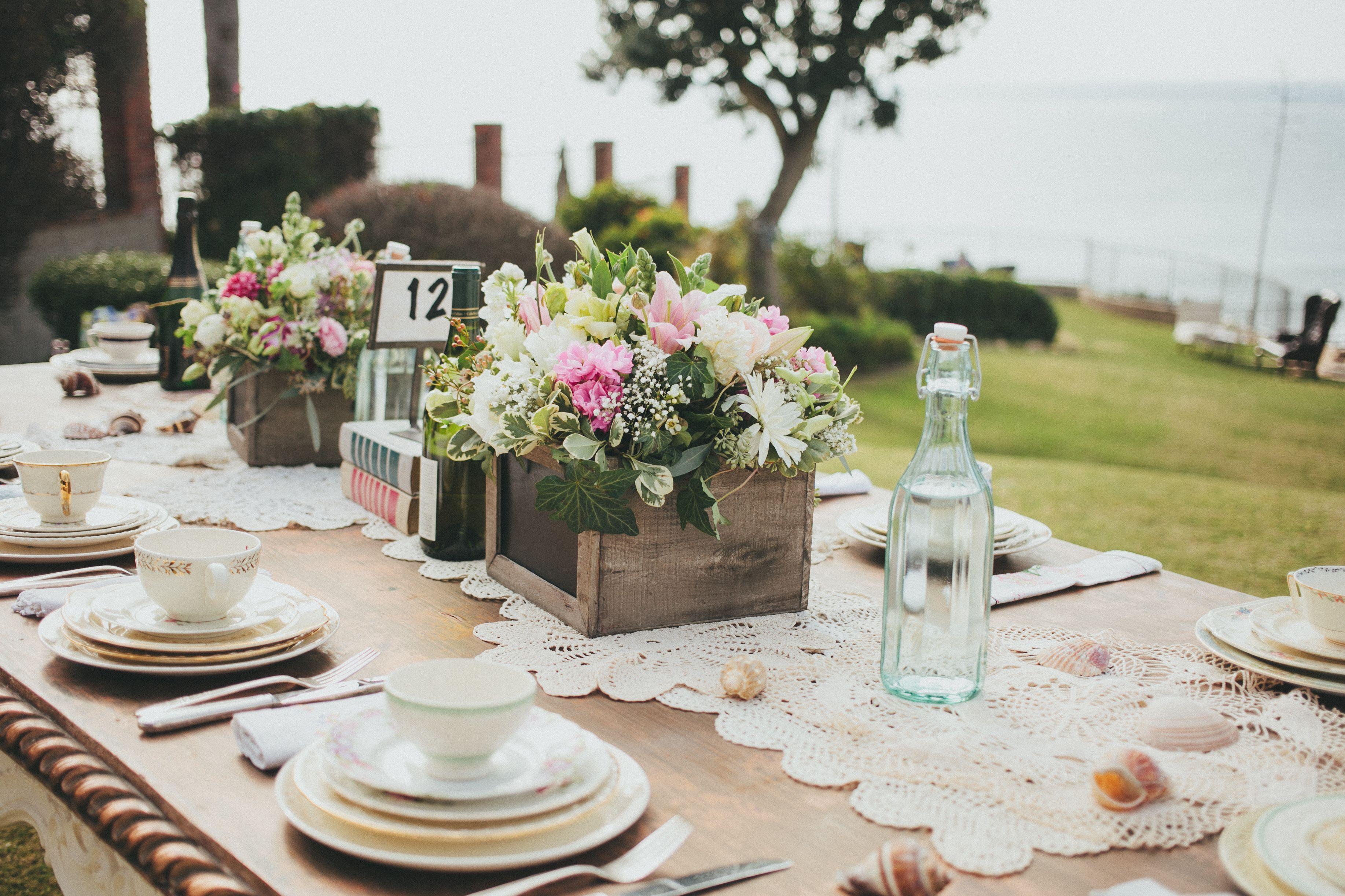 Vintage dishes for a beach wedding. dishwishla.com