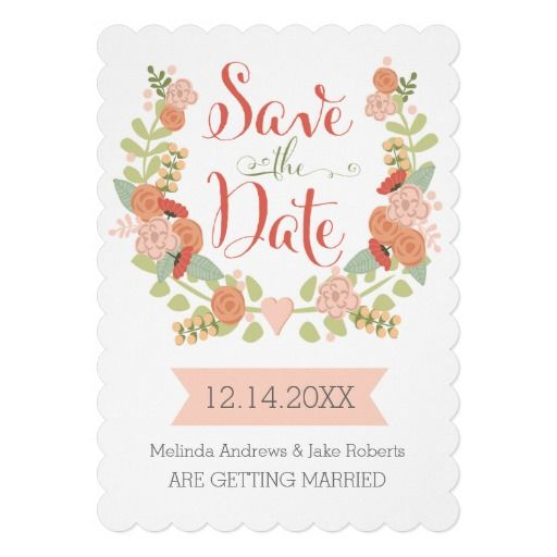 Scallop Edge Floral Save the Date