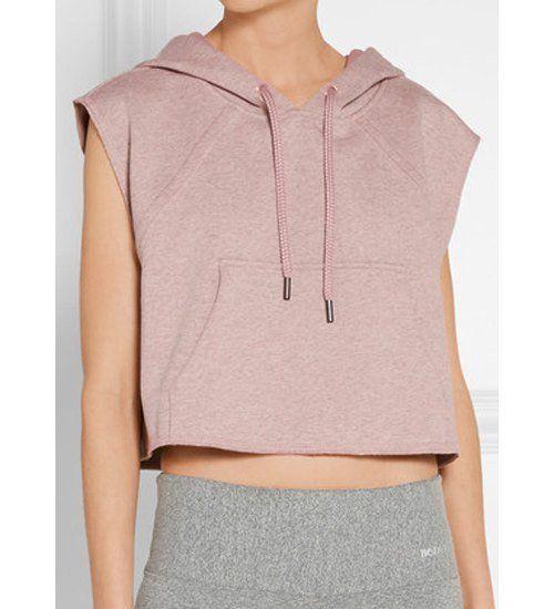 Women s Active Hooded Sleeveless Candy Color Hoodie Crop Top Hoodie 0727893c4