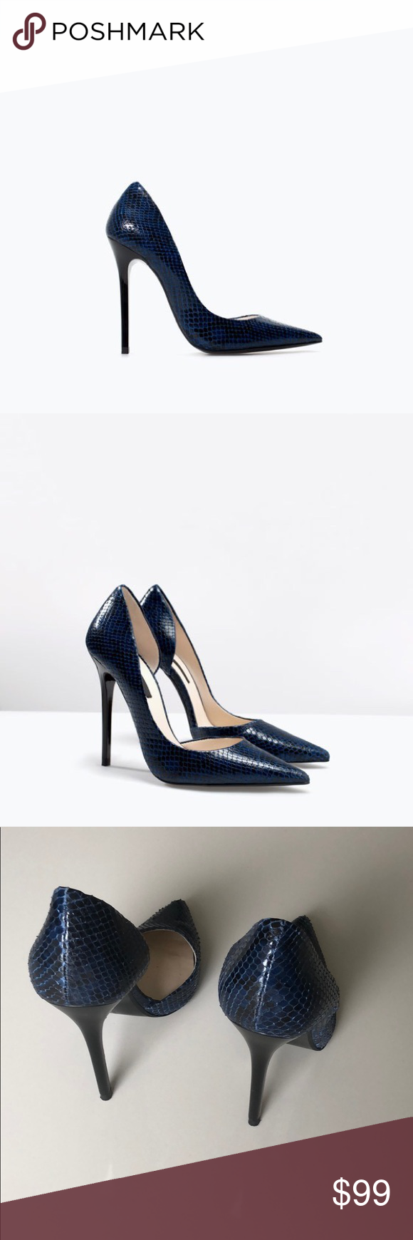 41cd10c7075 Zara leather navy black pumps Great looking leather pumps by Zara. Worn 2  times. Great condition. Size 38 (fits 8-8.5) Original price  139+tax Zara  Shoes ...