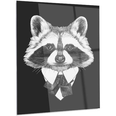 """DesignArt 'Funny Raccoon in Suit and Tie' Graphic Art on Metal Size: 28"""" H x 12"""" W x 1"""" D"""