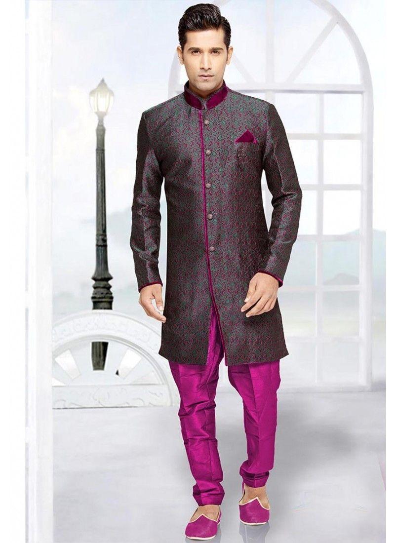couleur mauve ethnique indien mariage sherwani pour homme tenue mariage pinterest mariage. Black Bedroom Furniture Sets. Home Design Ideas
