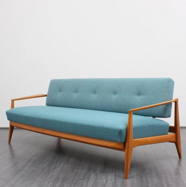 50er Daybed türkis, neu bezogen -☆- sofa blue Objects of desire