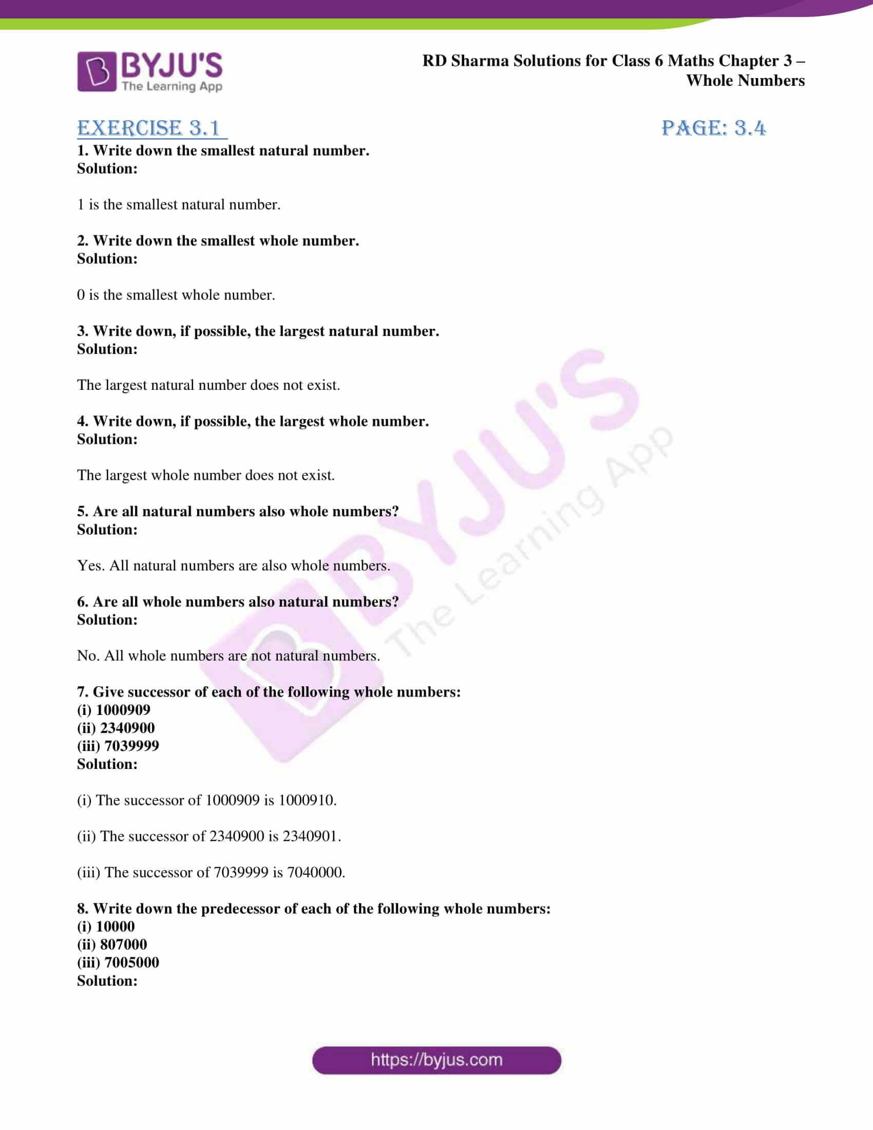 Rd Sharma Solution Class 6 Maths Chapter 3 Natural Number Class 6 Maths Solutions [ 2200 x 1700 Pixel ]