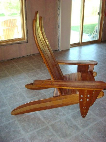 Adirondack chair made of vintage wooden water skis – Waterski Chair