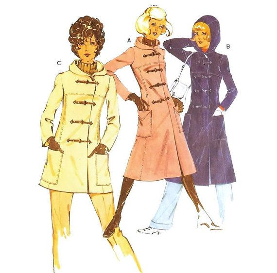 1970s Duffle Coat with Hood Burda Patterns 40074 by willynillyart