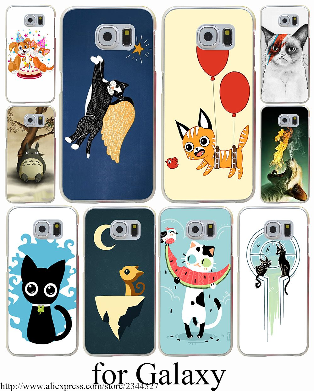 Cartoon Cute Cat Patterns Hard Transparent Case Cover for Samsung Galaxy S3 S4 S5 Mini S6 S7 S8 Edge Plus Case