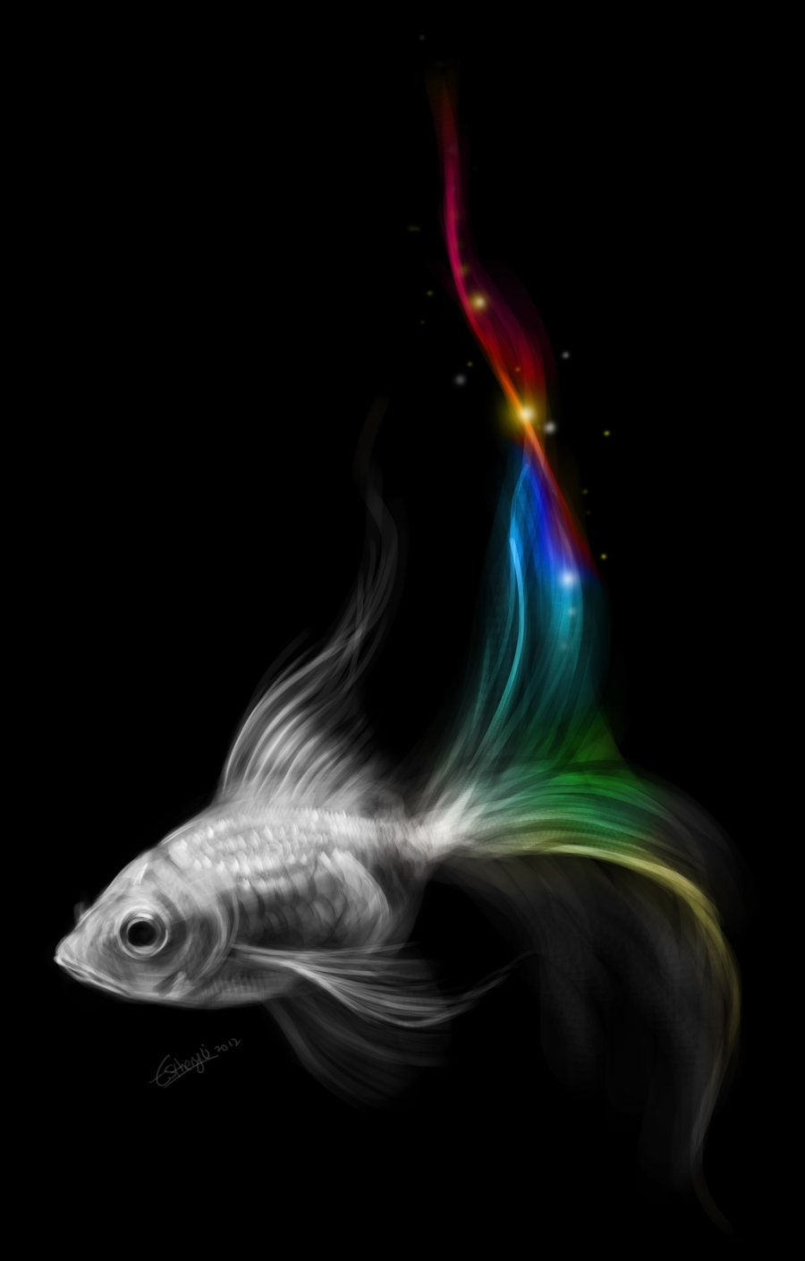 Rainbow goldfish by Estheryu.deviantart.com on @deviantART