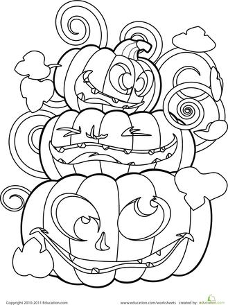 Color the Crazy Jack-o\'-Lanterns | Colorear, Halloween y Ejercicio para