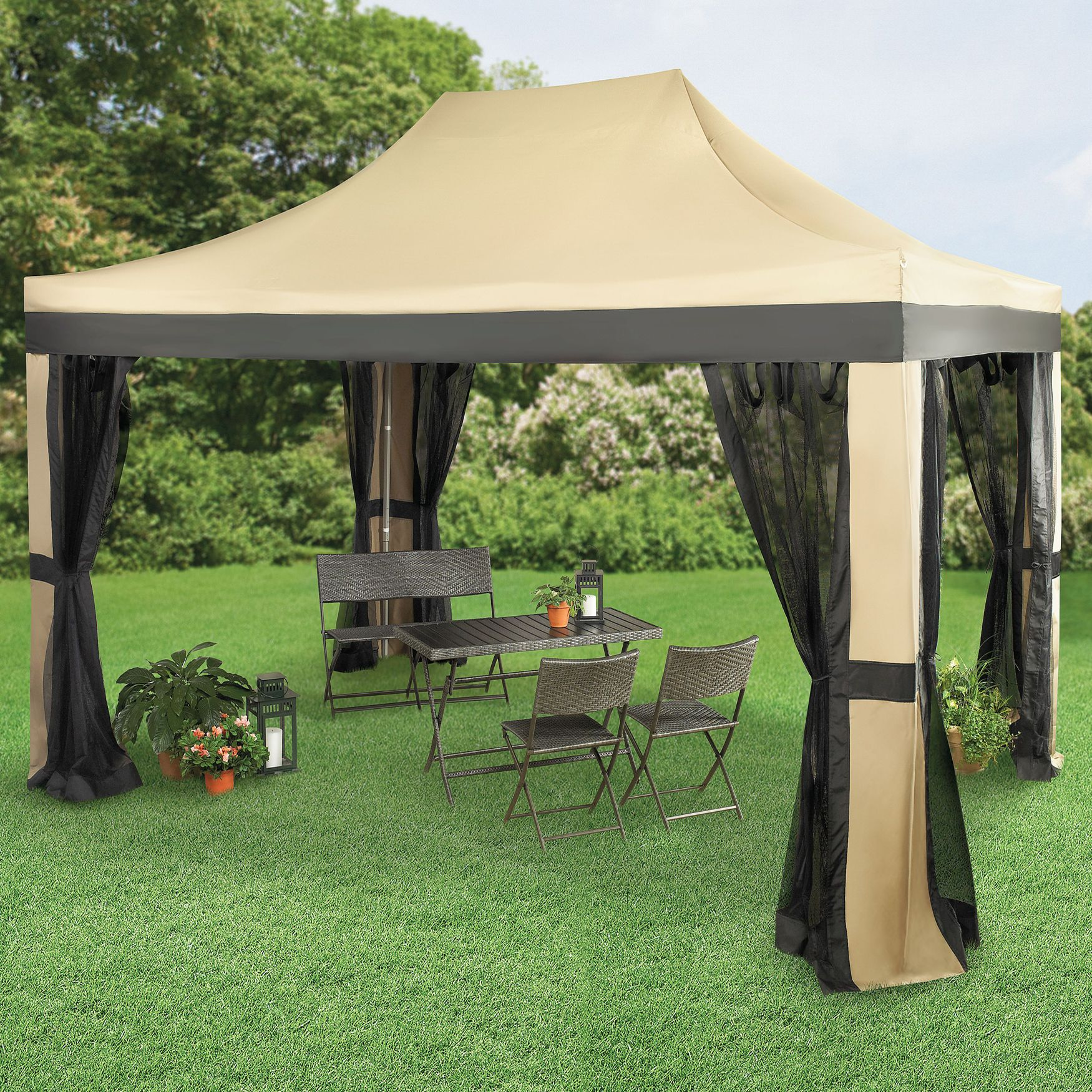 Oversized 10u0027 x 15u0027 Instant Pop Up Gazebo With Screen | Gazebos u0026 Umbrellas & Oversized 10u0027 x 15u0027 Instant Pop Up Gazebo With Screen | Gazebos ...