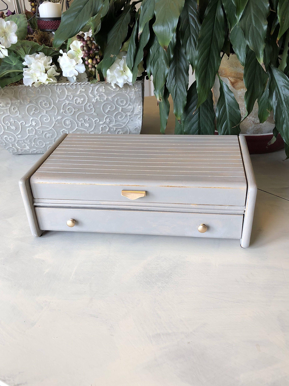 Mens Valet Jewelry Box Vintage Butler Box Desk Organizer