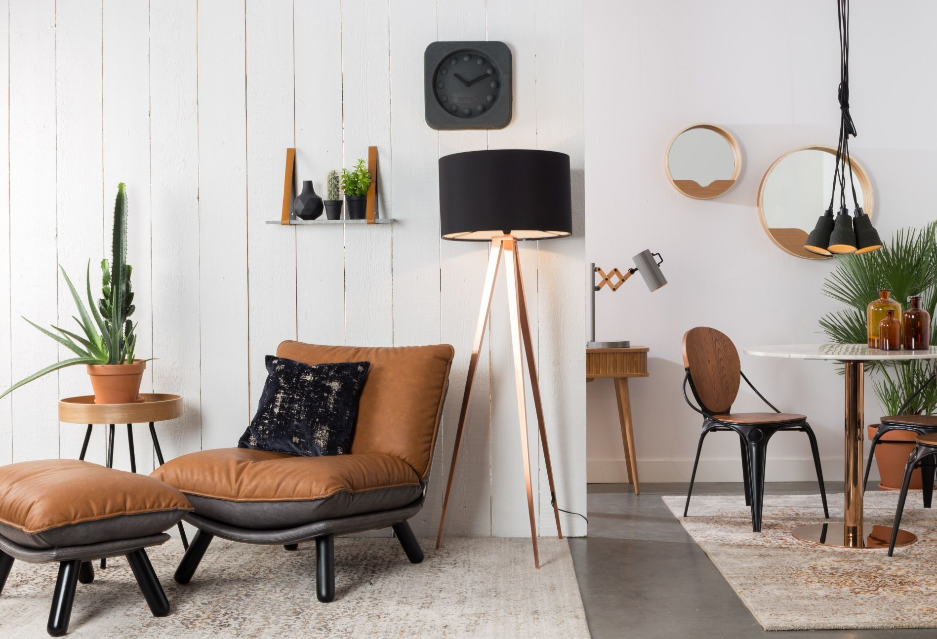 Zuiver fauteuil lounge chair lazy sack bruin grijs lofts