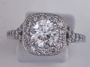 Micropave Halo Engagement Ring With Round Center Stone Bling