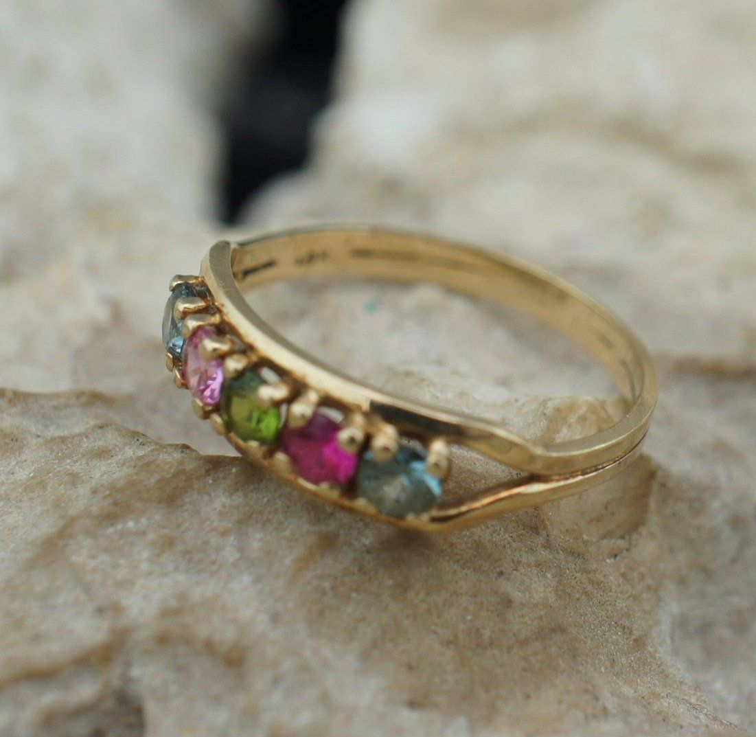Vintage Solid Gold 10k Ring Multicolor Stone Red Blue Green Pink Jewelry Solid Gold Jewelry