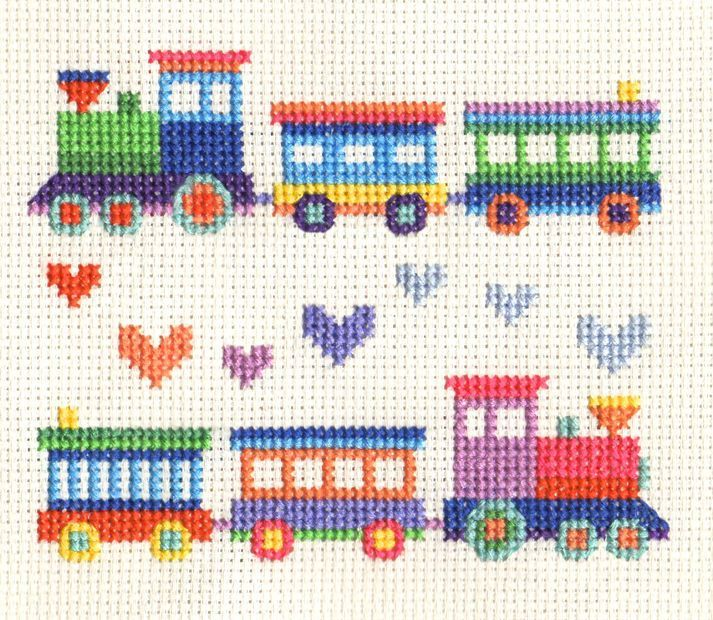 Photo of Details about TOY TRAINS – Childs Sampler ~ Full counted cross stitch kit + all materials Che…