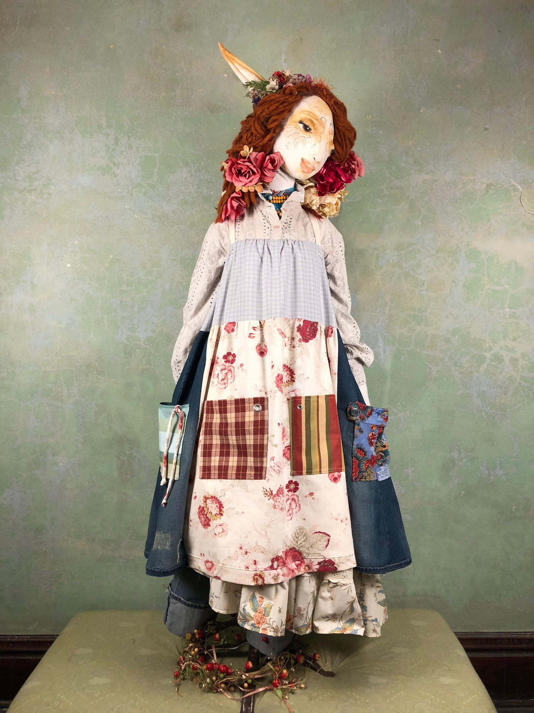 XL2X Denim/Cotton Duct Apron DressUpCycled Print Mix
