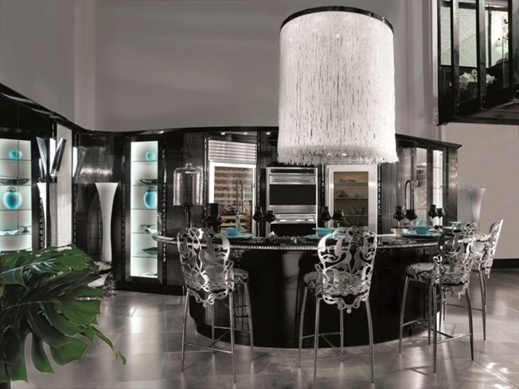 Art Deco Kitchen Design Ideas Part - 19: Art Deco Kitchen Designs And Furniture, Art Deco Style, Black Kitchen With  Dining Sets