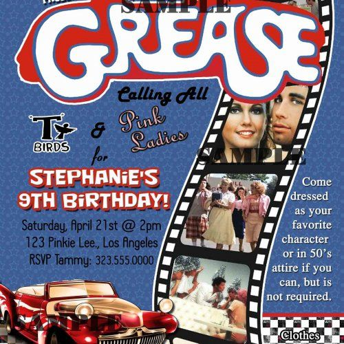 Grease 50s fifties sock hop dance birthday party invitation grease 50s fifties sock hop dance birthday party invitation digit stopboris Image collections