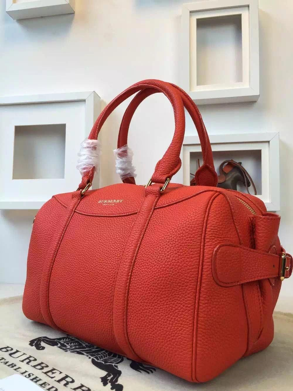 Burberry 39723611 The Bee In Grainy Bright Poppy Orange Leather 2015   Burberryhandbags ad1ef39c94b35