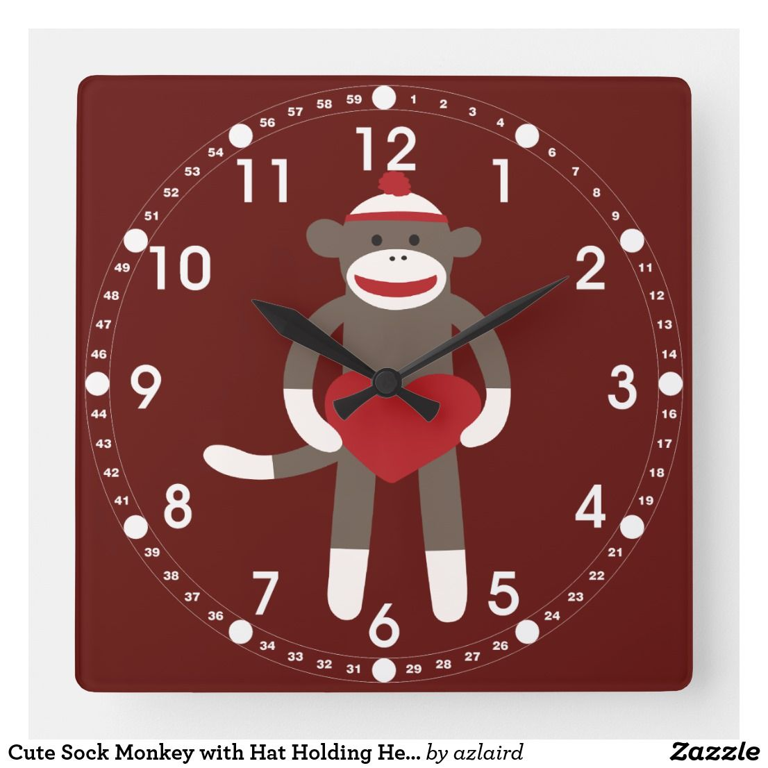 Cute Sock Monkey With Hat Holding Heart Square Wall Clock Zazzle Com Square Wall Clock Wall Clock Cute Socks