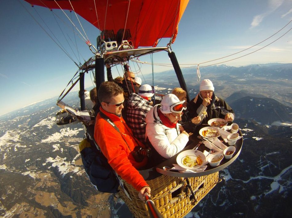 Lunch in a hot air balloon outdoor dining with a view!