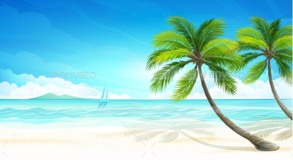 Tropical Island With Palm Trees Vector Illustration Background Design Vector Tropical Background Design