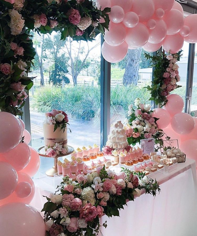 Pin By Sara Caiola On Dessert Tables Floral Balloon Garland Candy Buffet Signs Birthday Floral Balloons