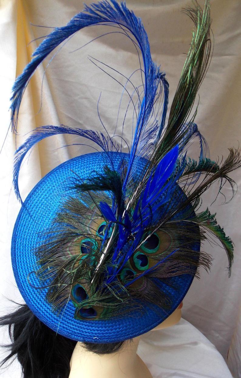 Buntal Headdress Peacock Feathers Headdress Blue Headdress Wedding Hat Ascot Hat Derby Hat Races Hat Feather Headdress Wedding Hats Peacock Feathers
