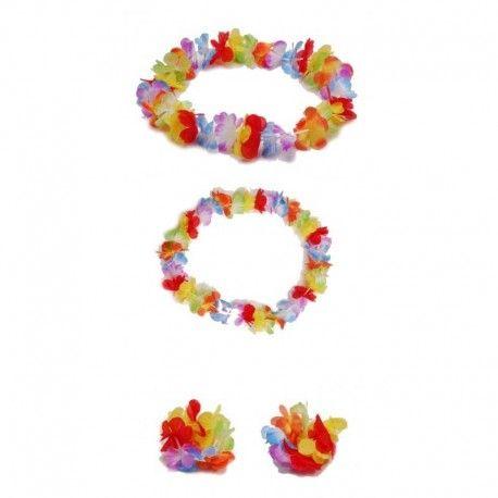 54edcbea271c Accesorios disfraces hawaianos | Set hawaiano con flores compuesto ...