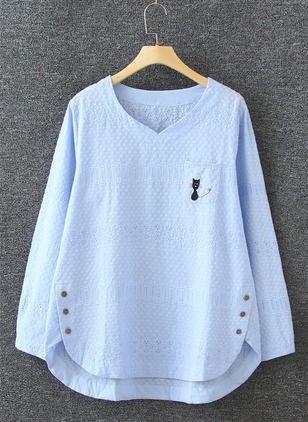 8ce15d52 Algodón Llanura Escote en V Manga larga Casuales Camisetas & Chalecos