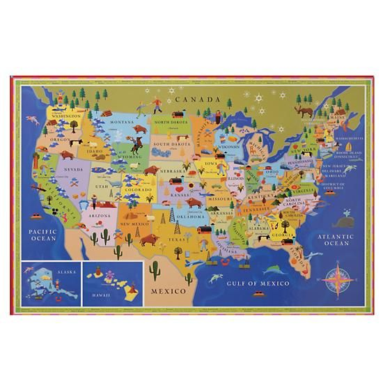 Kids Posters Prints Art Kids United States Map Wall Art In - Us map wall decor