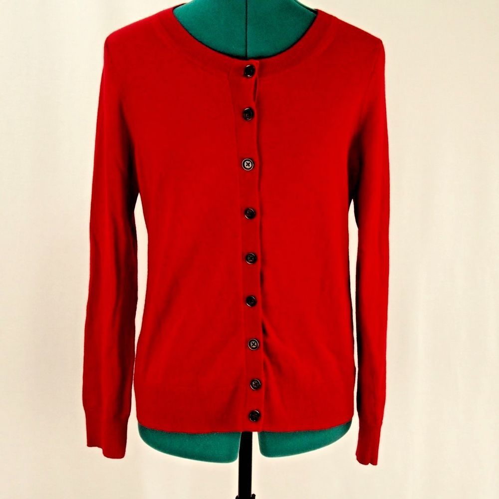 Banana Republic Extra Fine Merino Wool Red Cardigan Button Front M ...