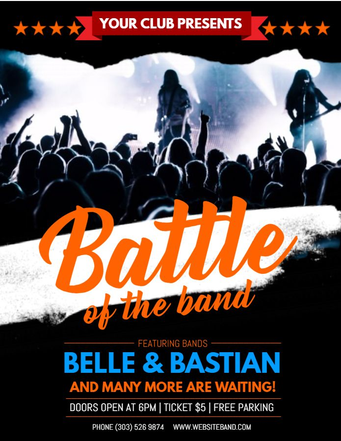 Battle Of The Bands Concert Flyer Poster Social Media Post Template Concert Poster Design Band Posters Band Flyers
