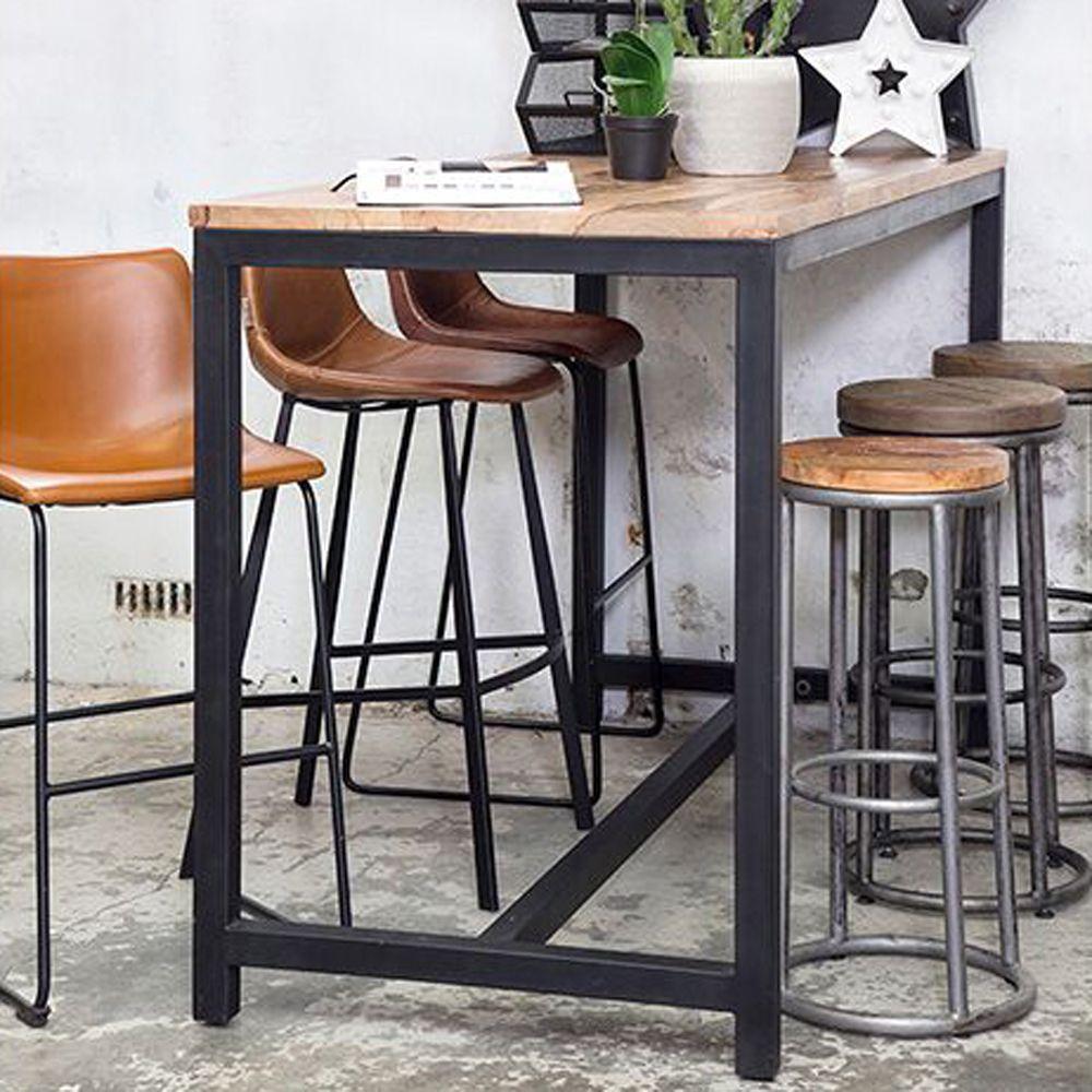 Bartisch Stehtisch Metall Schwarz Tischplatte Holz Industry Design Bistrotisch