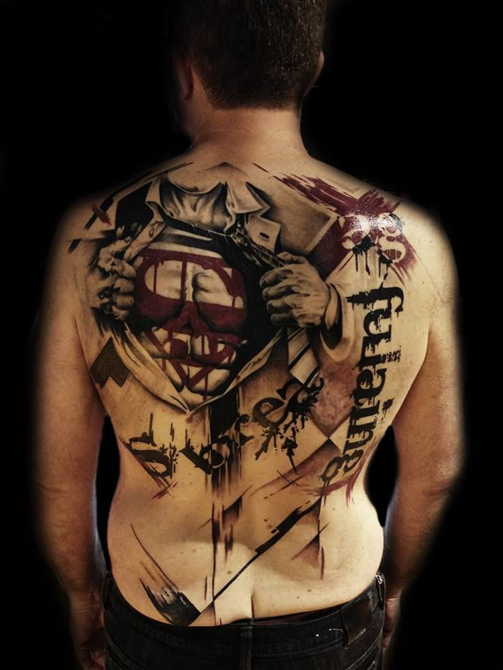 superman backpiece by nic westfall polka trash pinterest tattoo motive waden. Black Bedroom Furniture Sets. Home Design Ideas