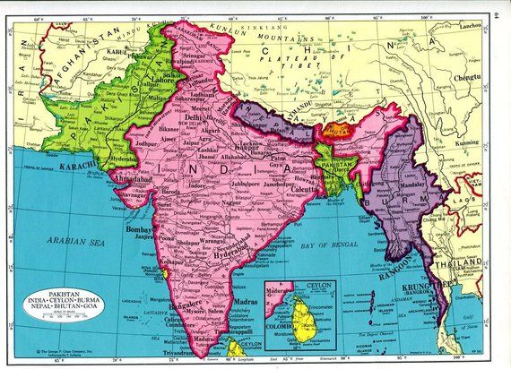 India South Asia Map and Afghanistan Map 1960s Cram Atlas Pakistan