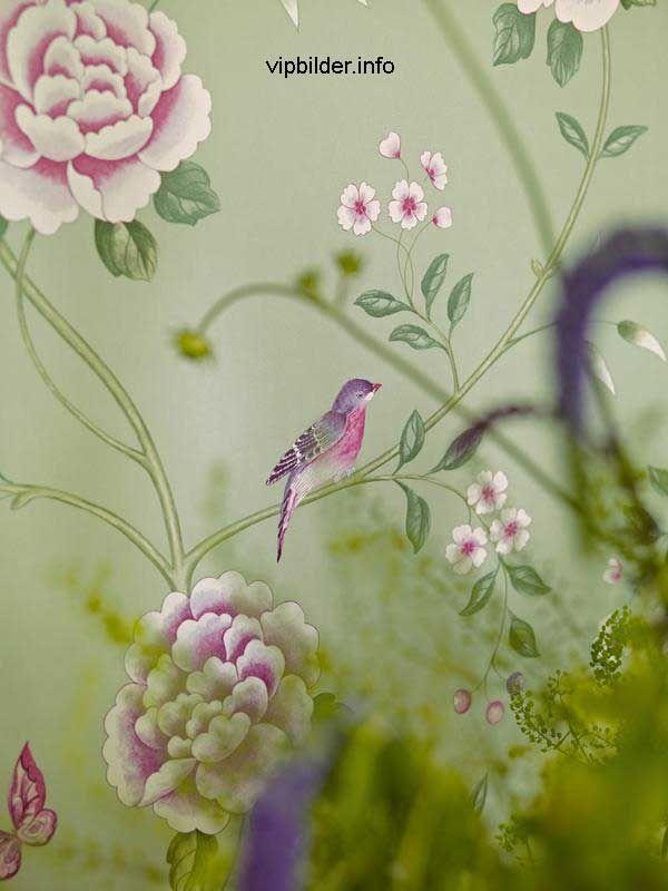 Englische Design Tapete Sanderson Pavillion Richmond Blumen Grün