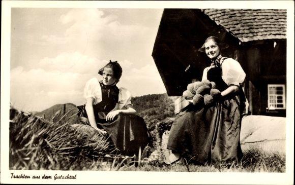 Ansichtskarte / Postkarte Schwarzwaldtrachten aus dem Gutachtal, Bommelhut