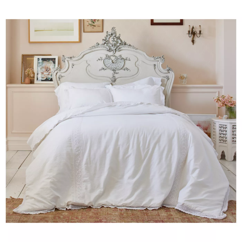 Crochet Trim Linen Blend Comforter Set Simply Shabby Chic Target Shabby Chic Bedding Shabby Chic Bedding Sets Chic Comforter