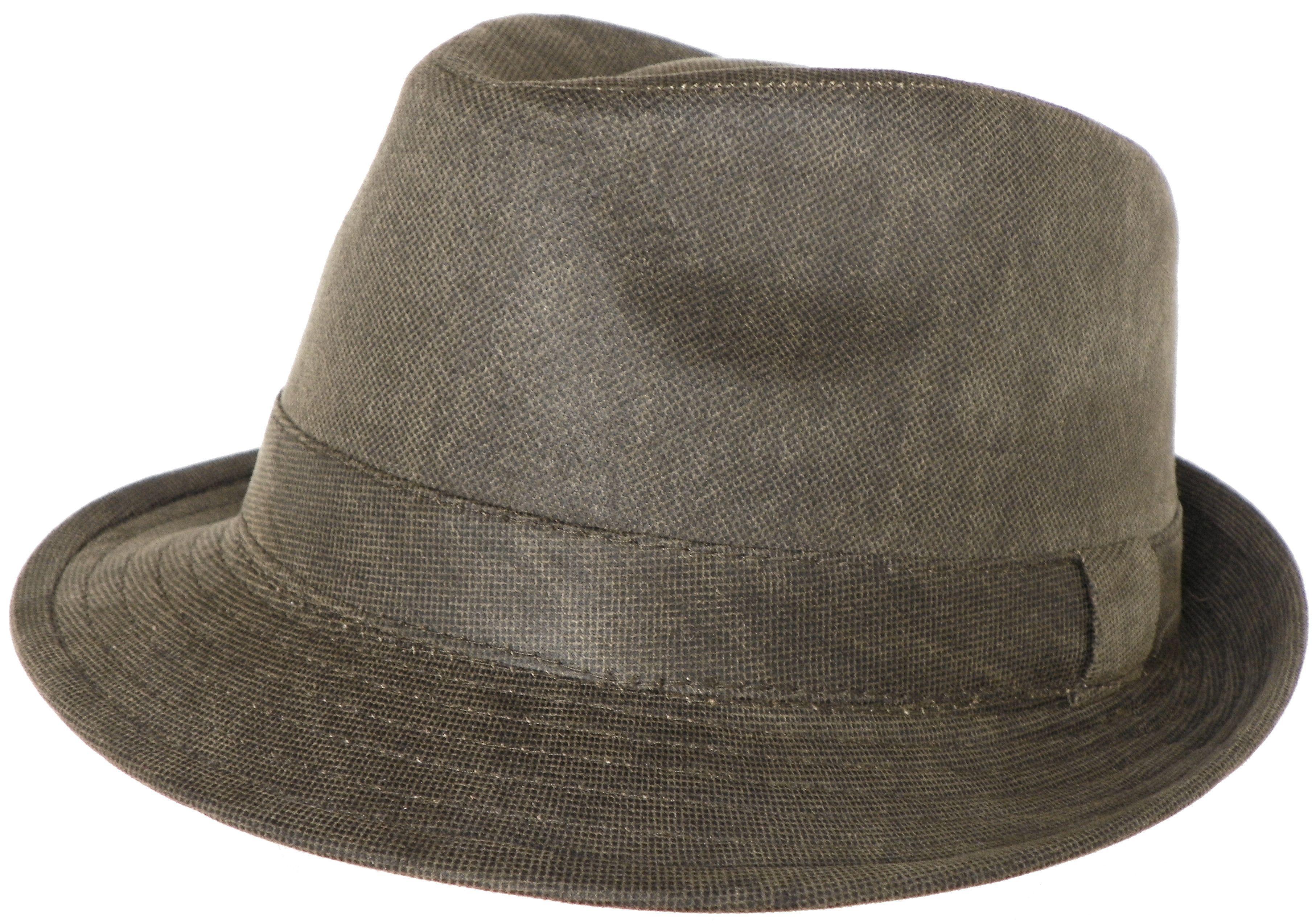 Henschel Stingy Brim Trilby Distressed Cotton Fedora Olive Green Hat ... f5cfc76ef7fe